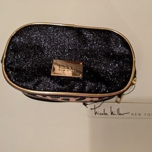 Nicole Miller Glitter and Animal Print make-up Bag